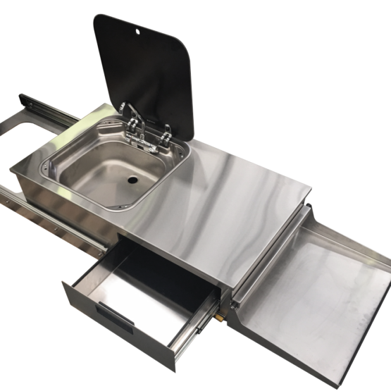 Pull Out BBQ and Sink Caravan